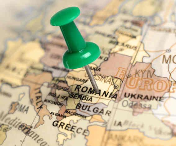 Location Romania. Green pin on the map. - Conscensia
